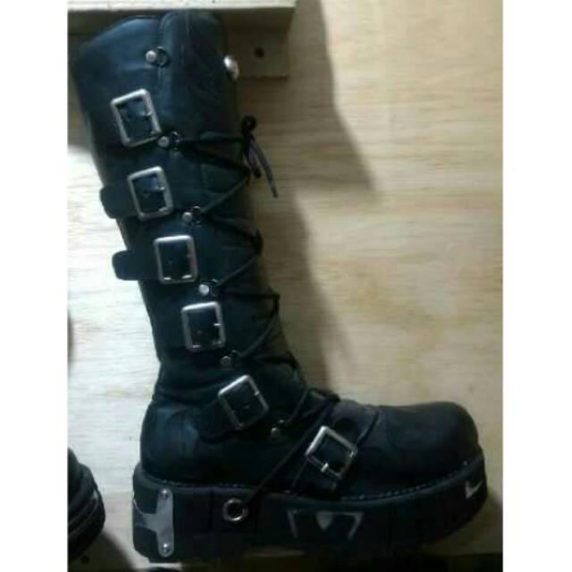 Sepatu Boots Rockers Jenggel Touring Pesta Panggung Casual Pria Warna Hitam