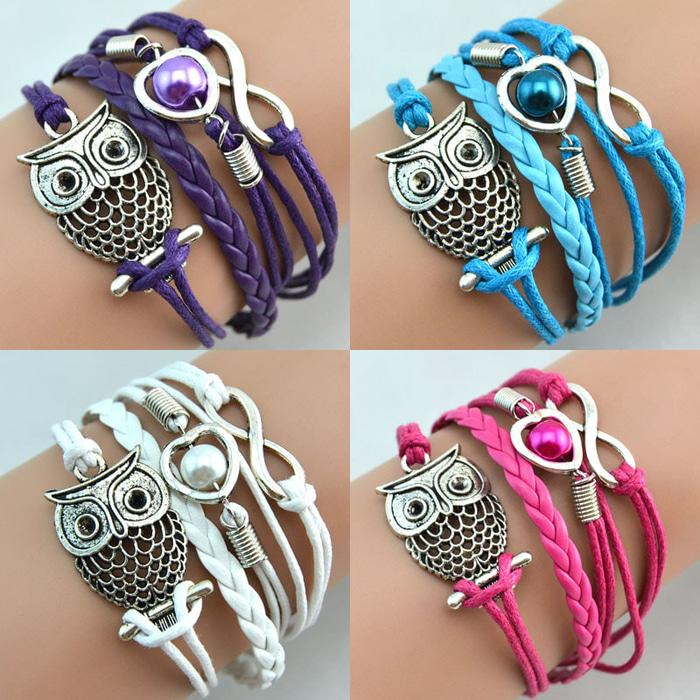 Gelang Vintage Cute Owl Leather Bracelet Bangle Women - Q12