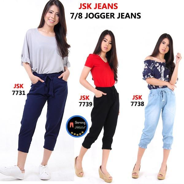 Celana Pendek 7/8 Jogger Jeans Wanita Pinggang Karet ALL SIZE READY JSK JEANS