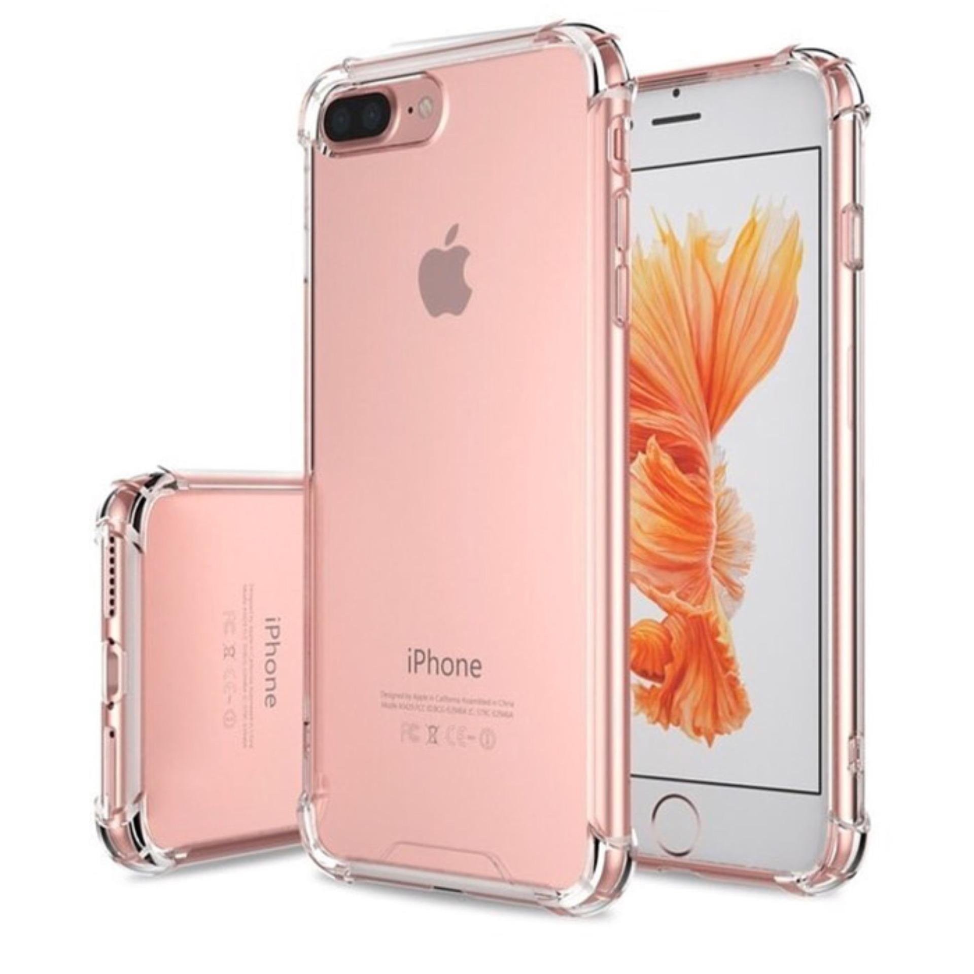 iPhone 8 Plus Acrylic Anticrack Mika Case - Belakang Acrilic Keras - Pinggir Silicone Soft - Clear