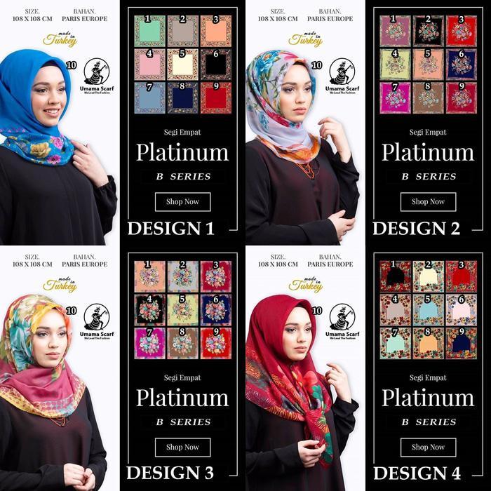 GROSIR Kerudung PLATINUM UMAMA Hijab Jilbab Segi Empat Motif B