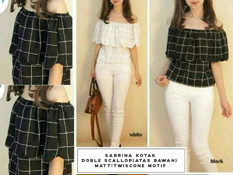 Fashion Flower Blouse Sabrina Wanita Ribbon Hand Daftar Harga Tied Sleeve Atasan Bl885 Hagiosholic Kotak Hitam Putih