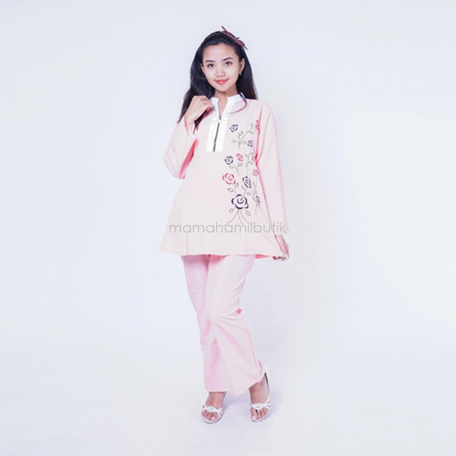 Ning Ayu Setelan Hamil REsleting Mutiara B rose - STJ 78 / Baju Hamil Muslim / Baju hamil Kerja / Baju Hamil dan Menyusui / Baju Hamil Lucu / Baju Hamil Panjang / Baju Hamil Modern / Baju Hamil Wanita / Baju Hamil Kerja Muslim