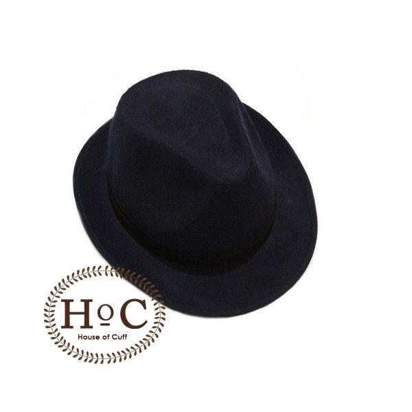 Houseofcuff Topi Fedora Hat DARK BLUE FEDORA HAT LAKEN