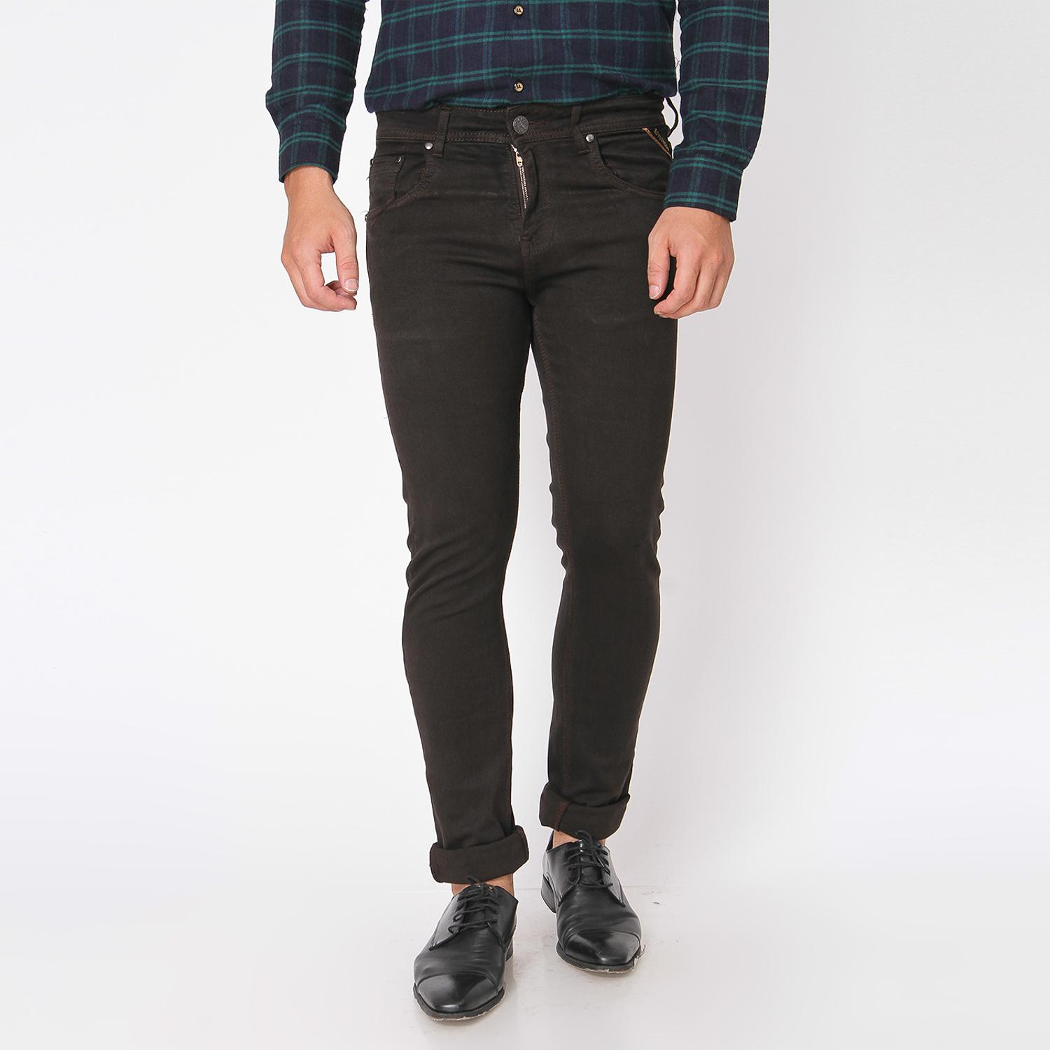 Boy London Celana Jeans Pria Original - Dark Brown Slim Fit