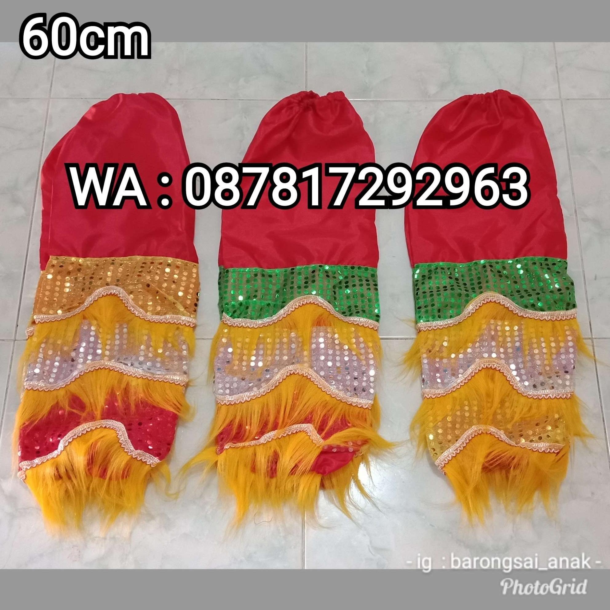 Celana Barongsai Anak bulu warna Kuning panjang 60cm