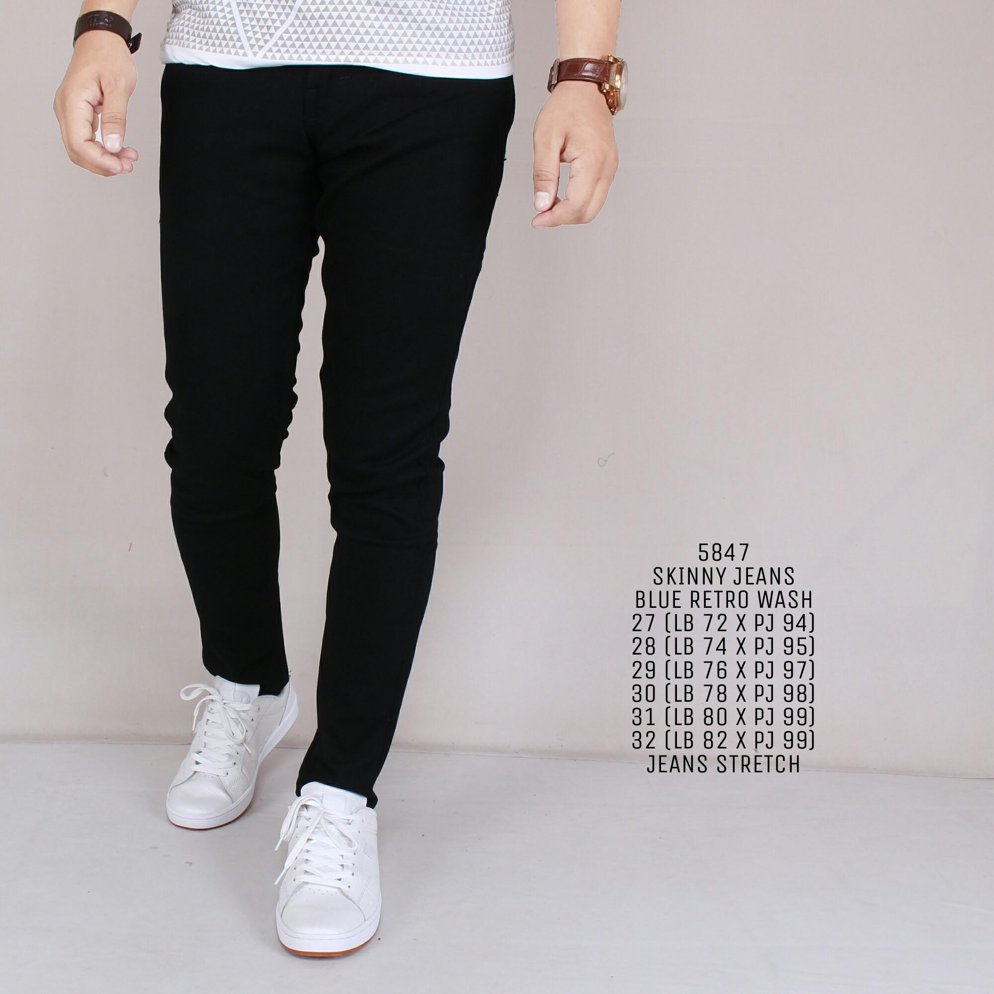 Zoeystore Celena Jeans Panjang Pria Celana Jeans Skinny Cowok Washing Black Cut Rips Celana Jeans Slimfit Denim 5847