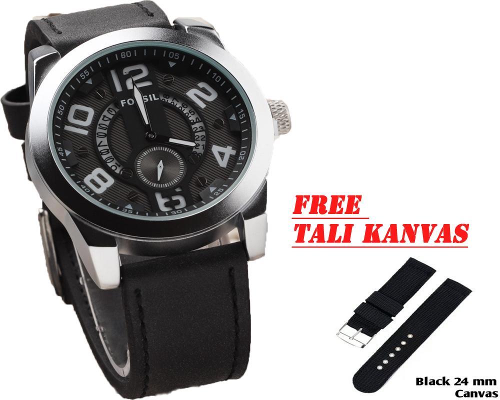 FOSIL-Jam Tangan Pria Fashion Leather Strap Tanggal Aktif Detik Bawah Bonus Tali Kanvas