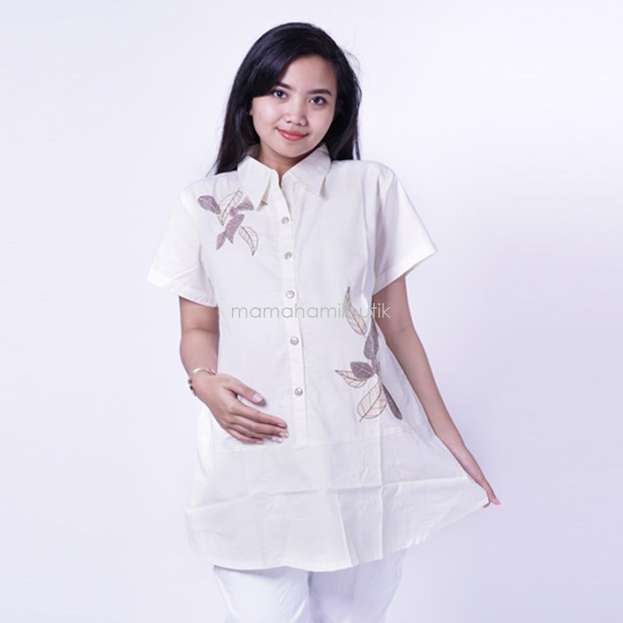 Ning Ayu Atasan Lengan pendek Polos Bordir Daun cantik - BLD 417 / Baju Hamil dan Menyusui/ Baju Ibu Menyusui / Baju Ibu Menyusui Lengan Panjang / Baju Gamis Ibu Menyusui / Baju Daster Ibu Menyusui / Baju Wanita Menyusui