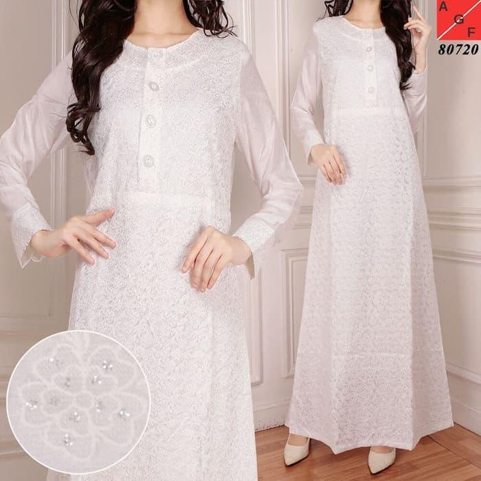 Baju Muslim Wanita / Baju Gamis Putih Silk Sutra #80720 STD