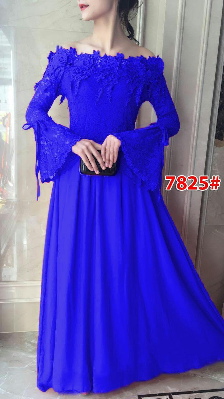 7825a# gaun pesta import / gaun panjang /maxi dress fashion / maxi sabrina brokat / maxi dress fashion import