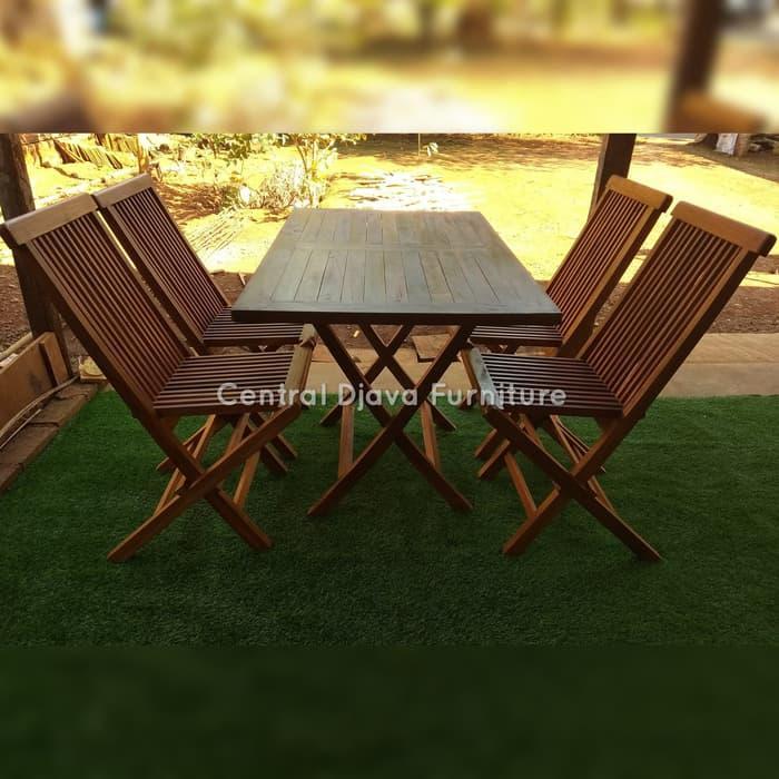 Kursi & Meja Lipat Taman Kayu Jati Outdoor Santai Furniture Jepara