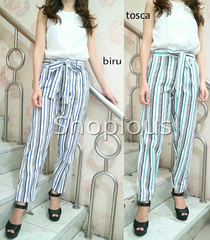 Shoplous Celana wanita salur warna/ Celana yomoni/ celana fashion/ muslim fashion/ celana casual/ celana kerja/ celana pita/ jaket wanita/ baju cowo/ hadiah ulang tahun