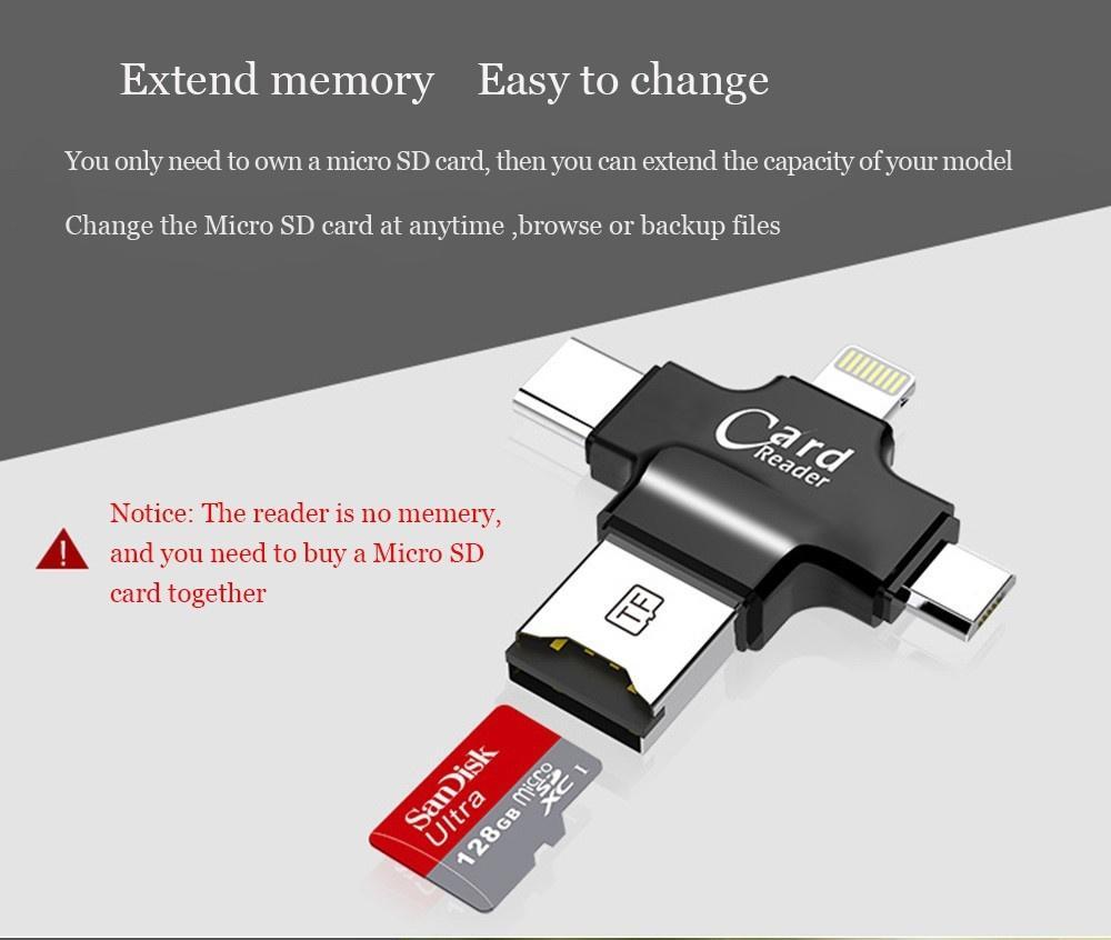 Fitur Idragon R006 4 In 1 Card Reader Multi Function Lightning Type Usb Votre Slot C Micro Tf