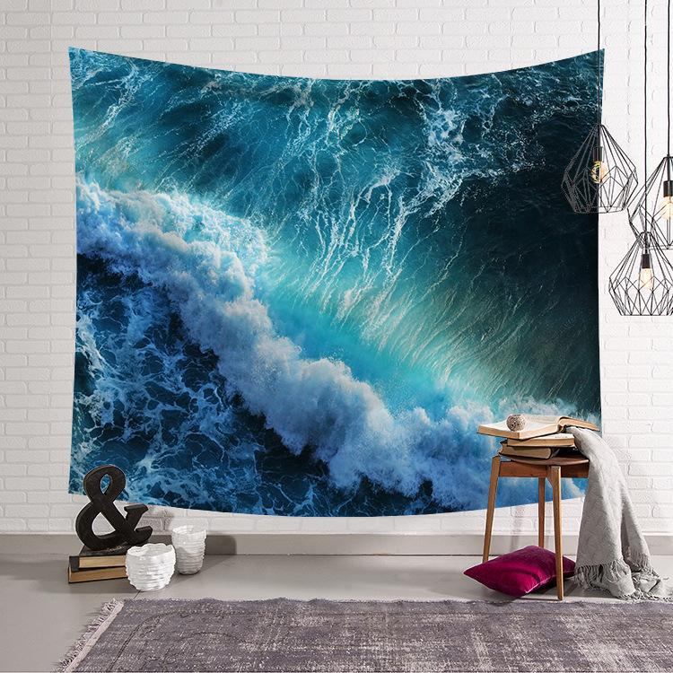 150*130cm Ocean Theme and Ship Tapestry Wall Hanging Carpet Beach Towel Blanket Yoga Mat Bohemian