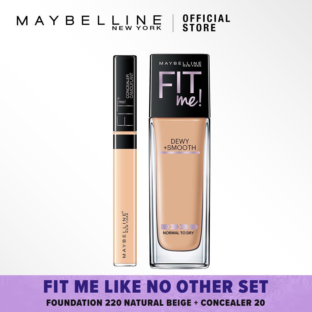 Maybelline Fit Me Like No Other Set : Foundation 220 Natural Beige + Concealer 20 Sand [Bundle]