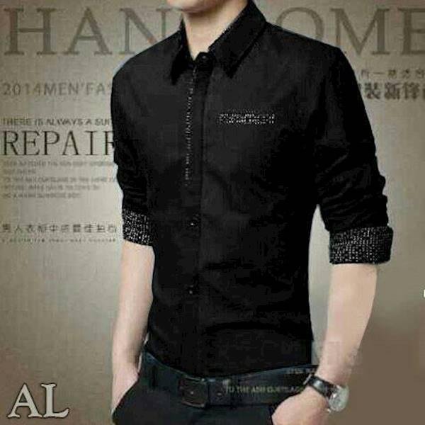 Kemeja William Hitam Baju Cwo Pakaian Pria Atasan Hem