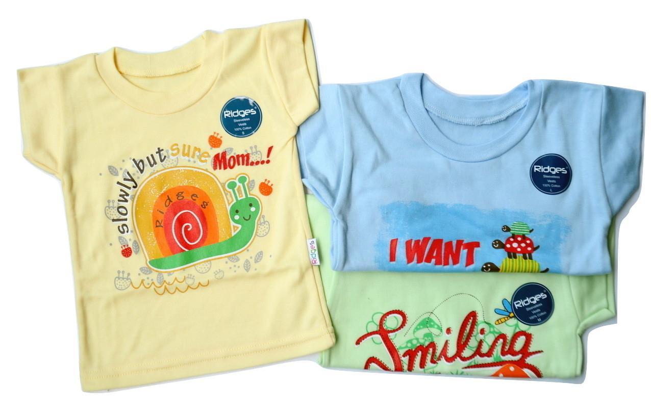 GEMA Kaos Oblong Lengan Pendek Motif / Baju Atasan Ridges Anak Bayi (6Pcs / 1/2Lusin)