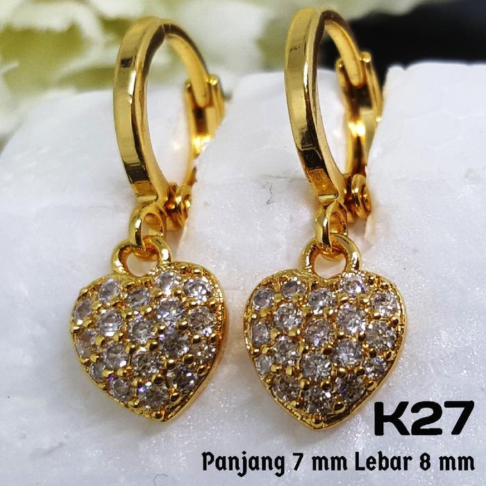 K27 Anting Anak Love Berlian (Set Perhiasan Imitasi Xuping Lapis Emas)