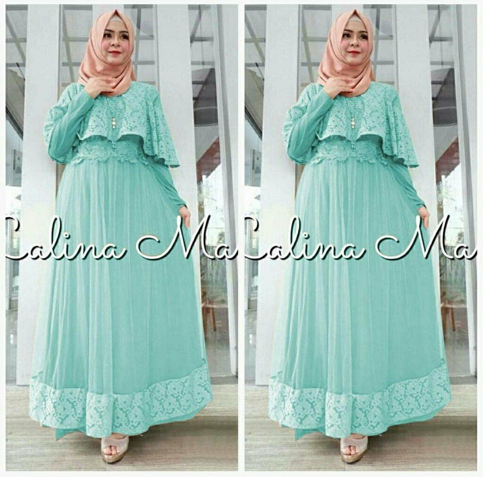legiONshop- busana muslim  muslim wear  gamis  hijab  dress maxi SALINAMA BRUKAT (bahan jersey kombi brukat)
