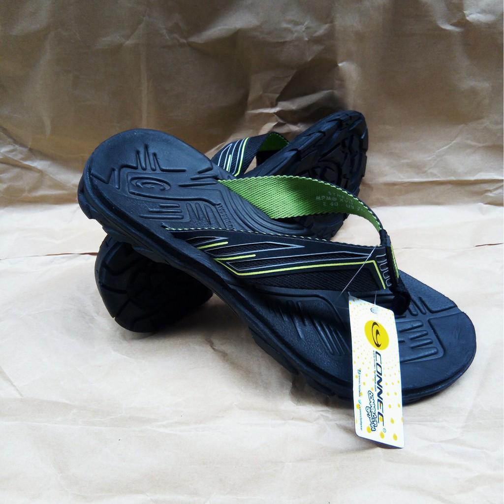 Sandal Japit Premium CONNEC Street Black Lime Sendal Jepit Casual Gunung