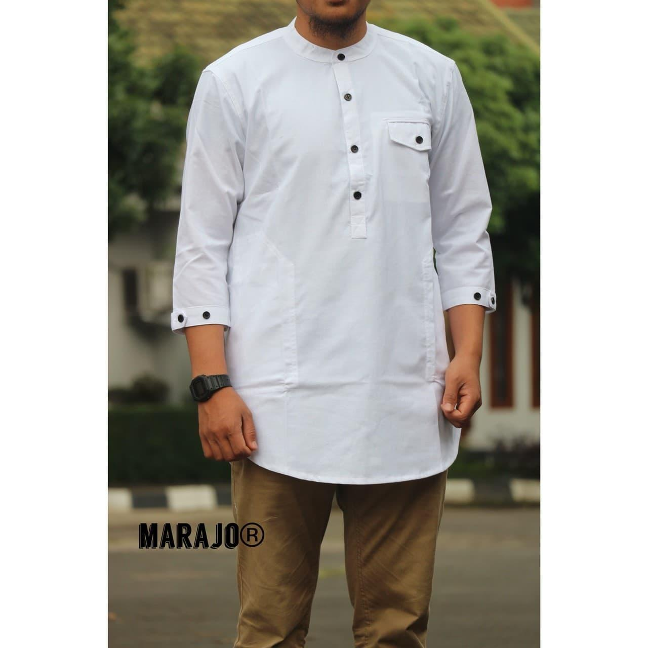 Baju Pria Kemeja Baju Koko Gaul Qurta Original Marajo Putih Polos