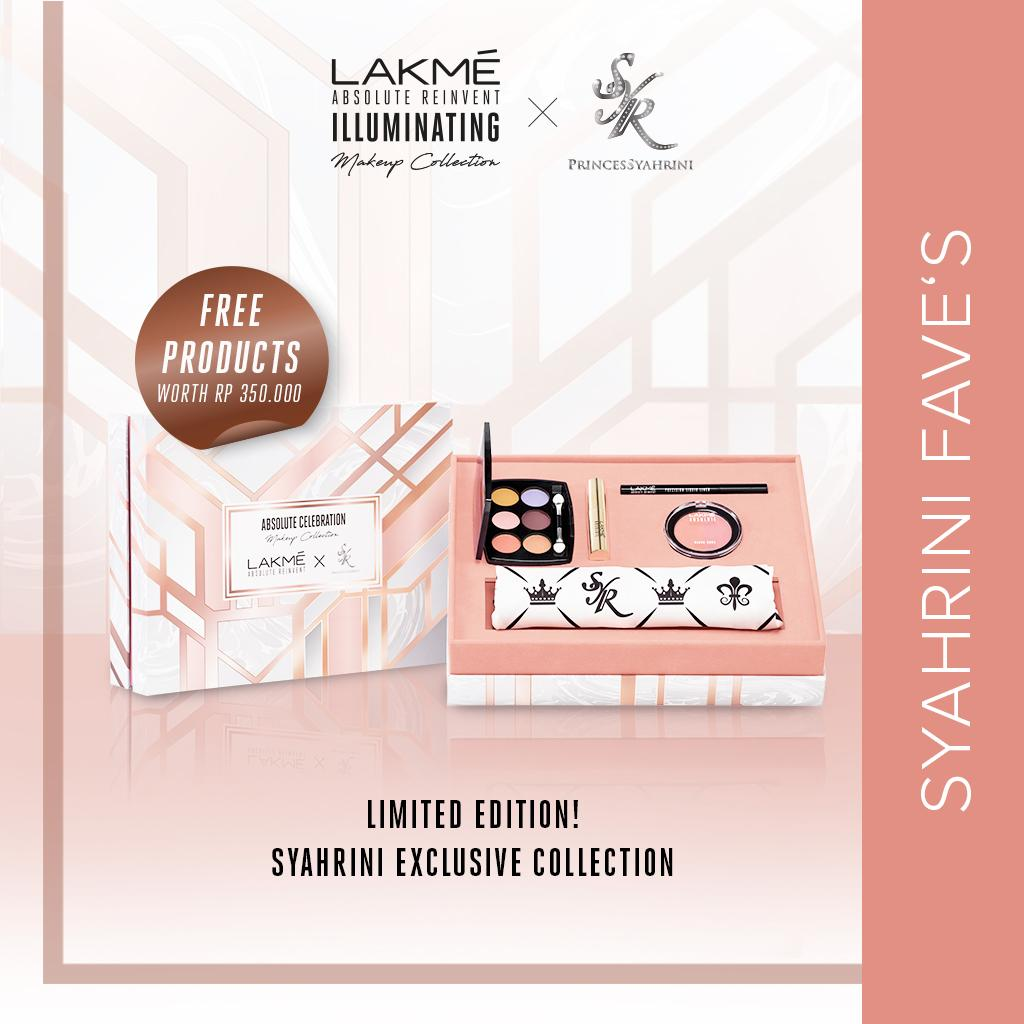 Limited Edition Exclusive Ramadan Glam Look Lakme Absolute Princess Syahrini Collection Gratis Make Up Remover and Illuminating Foundation Rp350.000 + Hadiah Exclusive Beautiful Syahrini Scarf