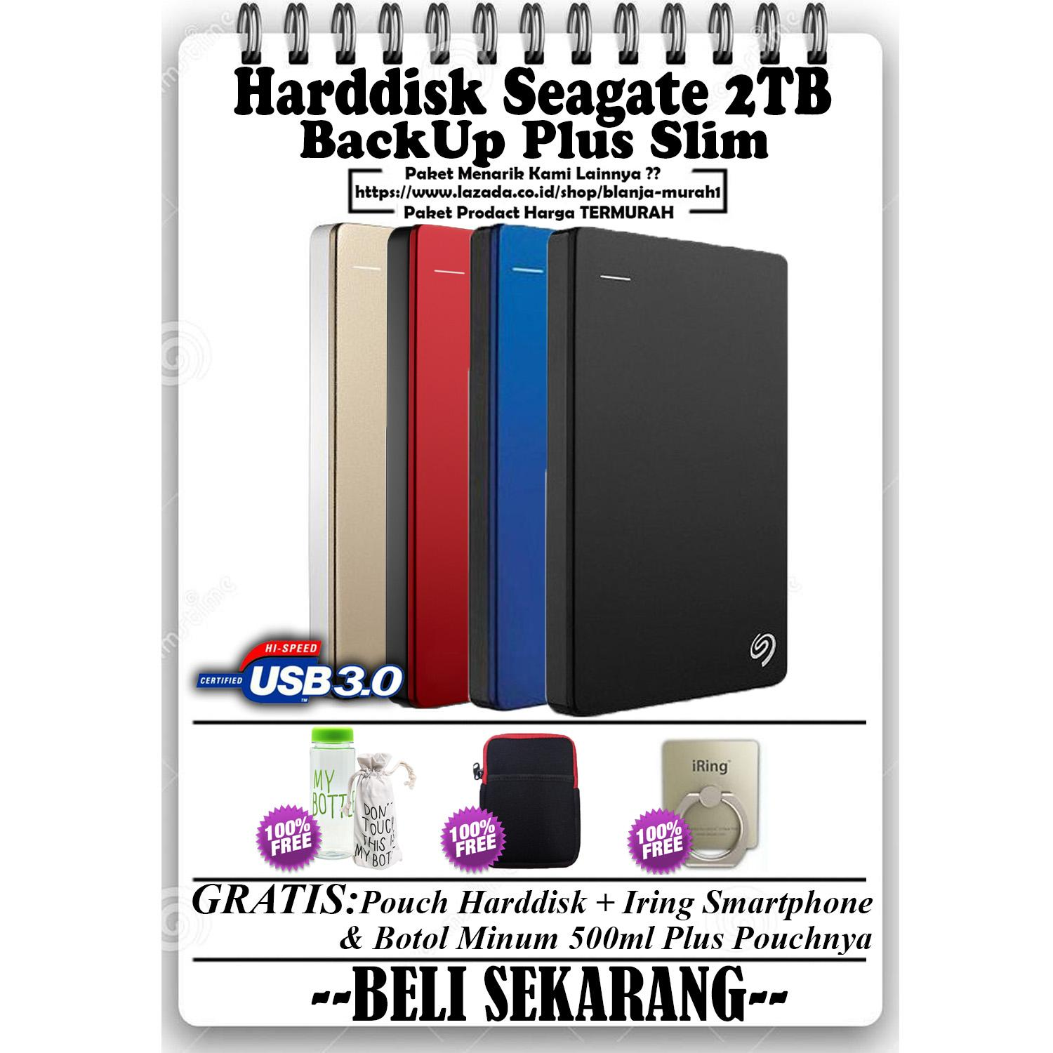 Seagate Backup Plus Slim 2TB - HDD - HD - Hardisk External 2.5 - GRATIS Pouch Harddisk Ext + My Botol Air Minum 500ml + Sarung Pouch My Bottle & Iring Stand Hp/Tablet