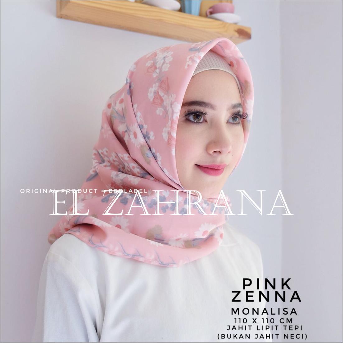El Zahrana Hijab Square - Kerudung Segi Empat - Jilbab Segi Empat Motif Premium Monalisa