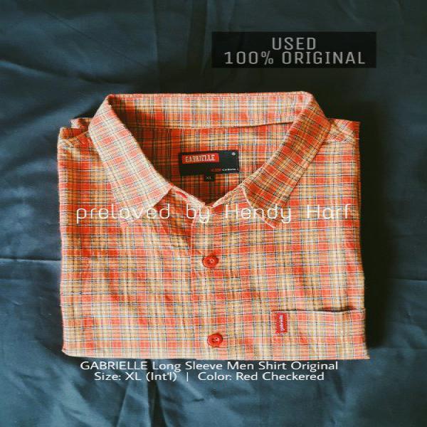 Kemeja Kotak Kotak Gabrielle Lengan Panjang Pria Original Men Shirt Long Sleeve Bekas Used Second Merah Red