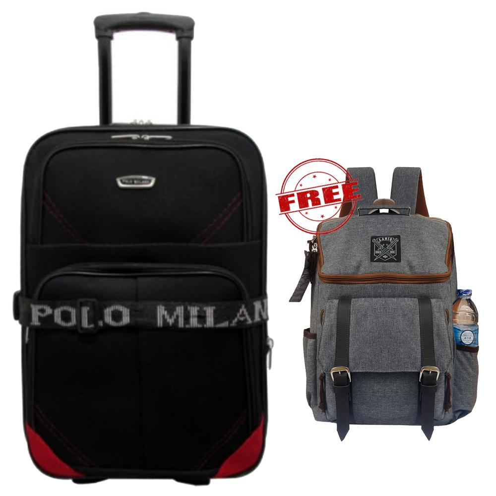 Promo World Cup Free Gift - Koper Polo Milano Size 24 Inchi Koper Bahan Koper Murah Koper Baju Koper Travel 210-24 Expandable Import Original - Black Red + Tas Ransel 17 Inchi Style Korea 901-17 Material Kanvas - Grey