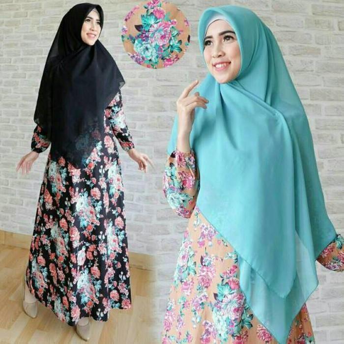 (JNH Shop)  Hijab Zamira Flower Busana Muslim Gamis Baju Lebaran Zahira Hijab