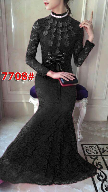 7708# baju pesta panjang / gaun pesta brokat / gaun import / longdress fashion import