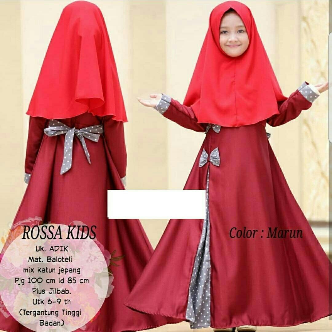 Honeyclothing Dress Muslim Anak Rossi / Baju Muslim Murah / Gamis Muslim Anak Perempuan