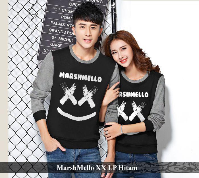 LenganPanjang Kaos Couple Lengan Panjang Busana Kembaran Simple Marshmello XX Hitam
