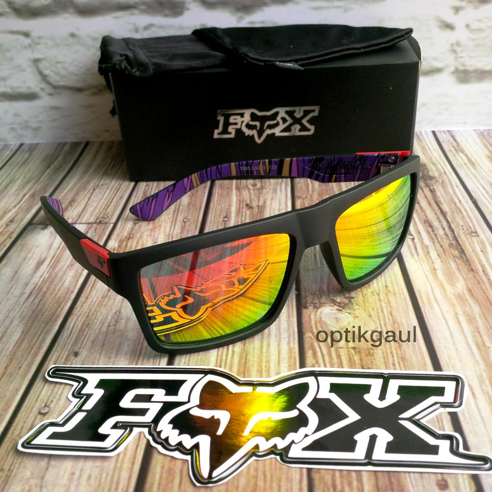 Kacamata Unisex Pria Wanita Fox The Director Fire Lens Merah dengan Hard Box