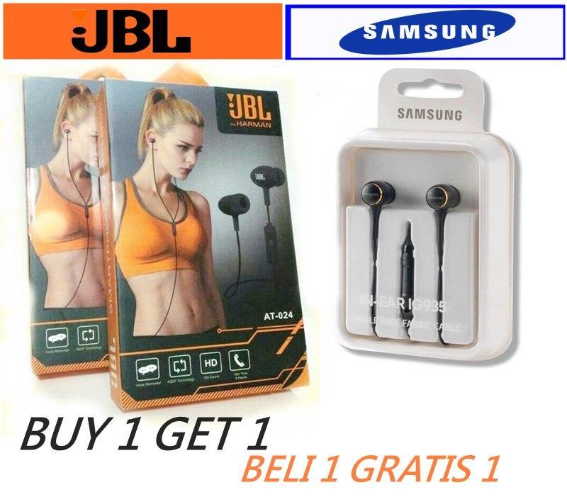 . BUY 1 GET 1 JBL handsfree AT024 dan samsung in ear ig935 black Handsfree