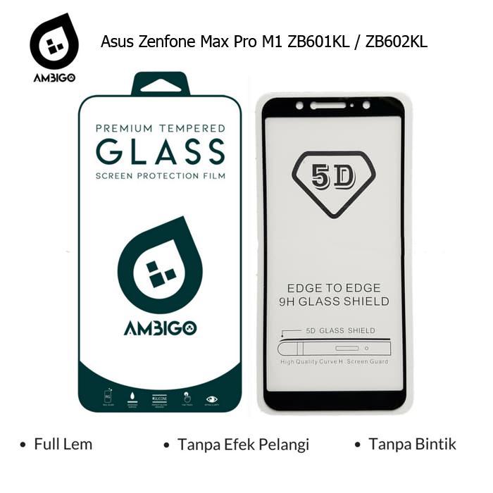 Accessories Hp Ambigo Tempered Glass 5D Full Cover Warna / Anti Gores Kaca Full Lem Untuk Asus Zenfone Max Pro M1 ZB601KL / ZB602KL - Black