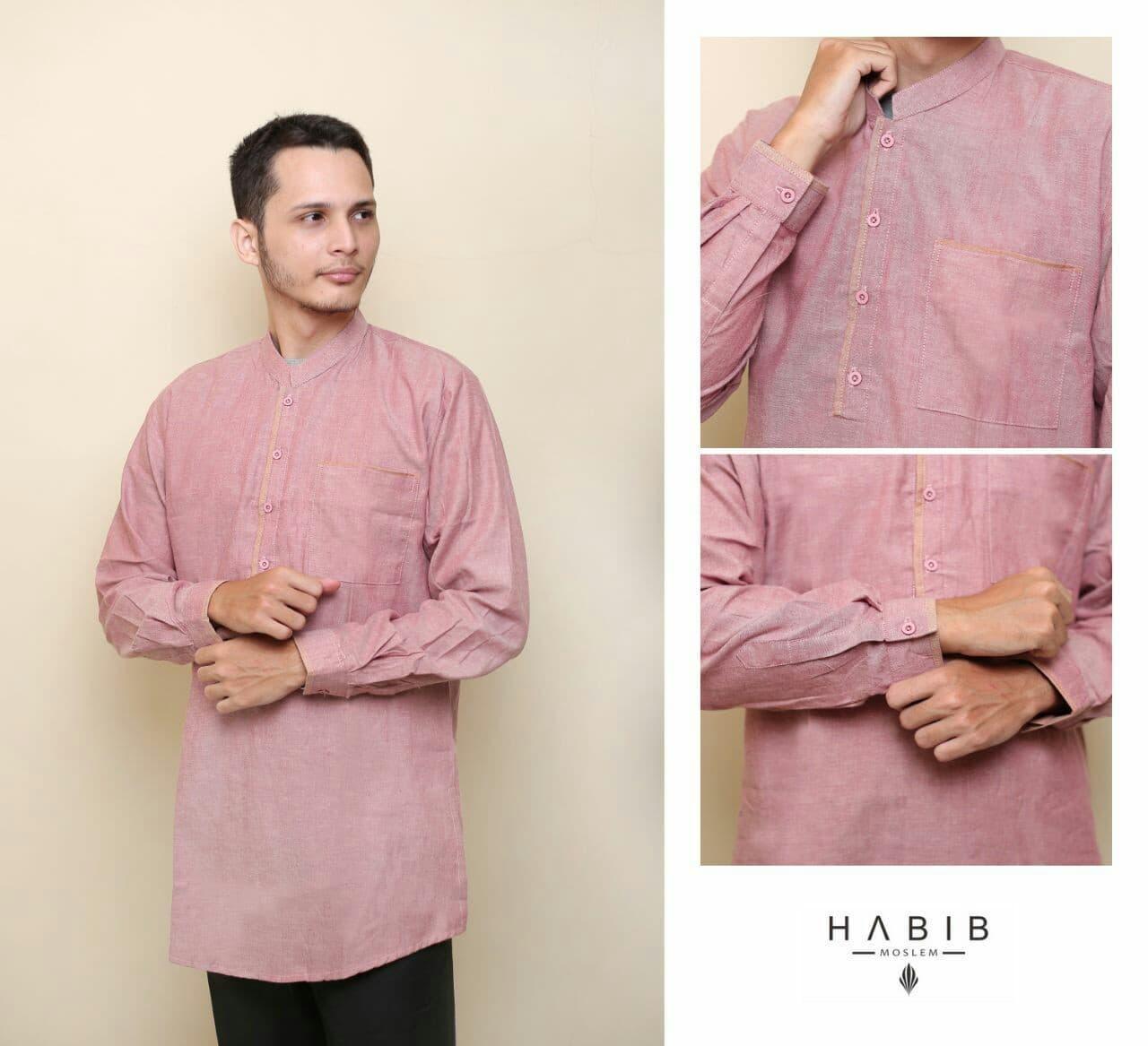 Baju Pria Kemeja Baju Koko Gaul Qurta List Habib Panjang Merah Muda