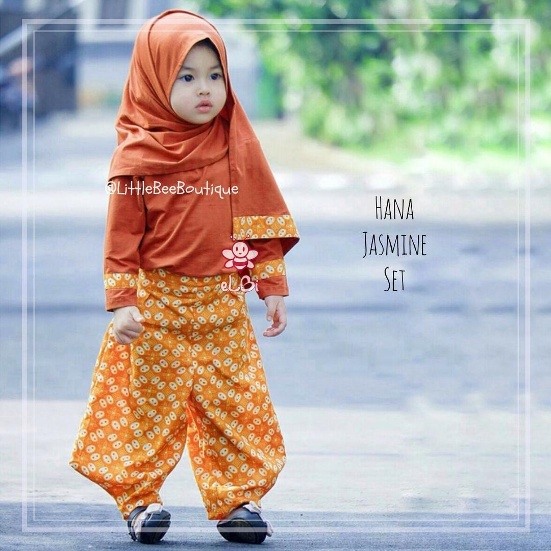 Elbi Hana Jasmine Set / Baju Bayi / Baju Bayi Perempuan / Baju Anak Muslimah / Celana Jasmine / Addina Store