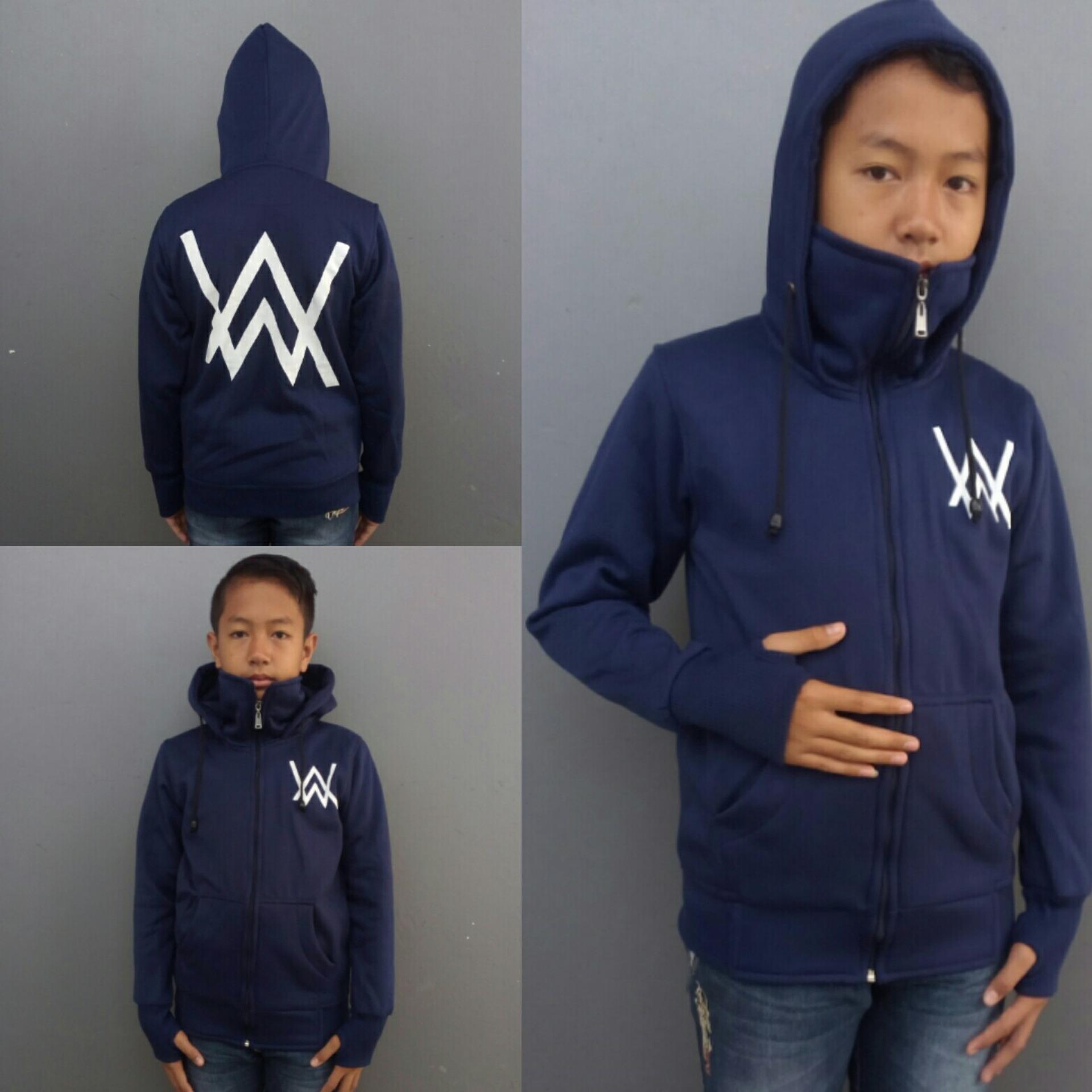 Jaket Sweater Hoodie Roundhand Ninja Zipper Alan Walker anak AW ( Hitam & Navy )