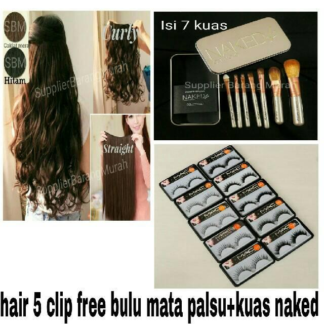 Rambut Palsu Hair 5 Clip Extension Lurus Curly Keriting Murah Free Bulu Mata Palsu Dan Naked Brush