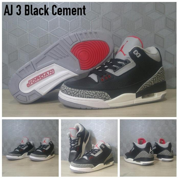Sepatu Basket Air Jordan 3 (III) Black Cement / nike / kyrie / lebron