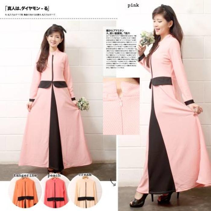 Gamis 112  Gamis Fashion Peplum Kombinasi Warna Pastel Bahan Wedges