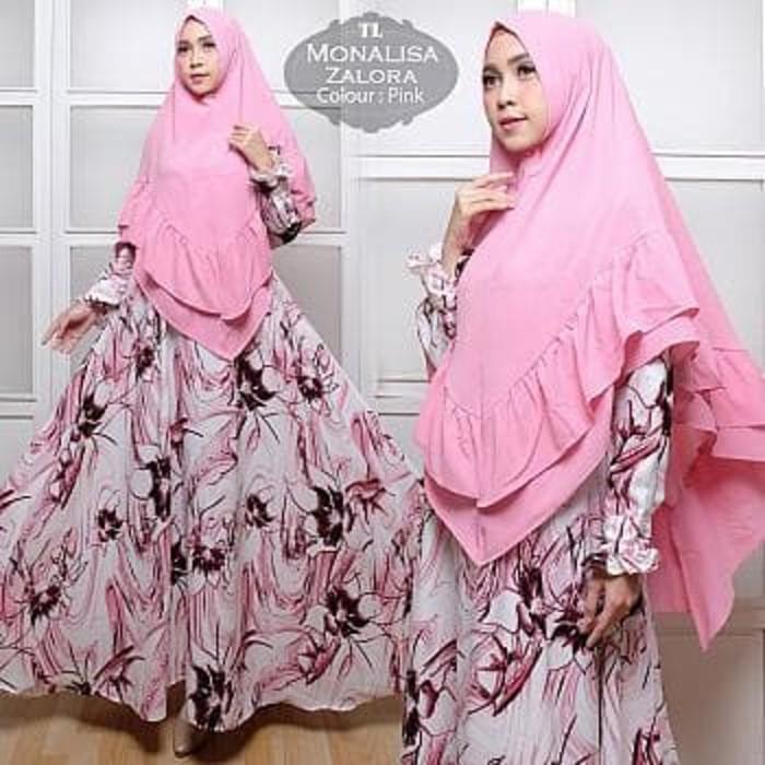 (JNH Shop) [Syari Monalisa Zalora Pink TL] Gamis Wanita Monalisa Pink