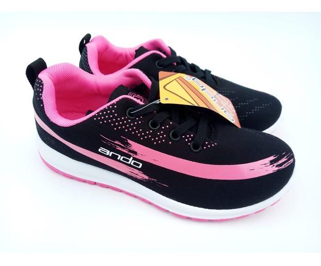 FIURI - ANDO Lindsey Original Black Pink - Sepatu Olahraga Lari Wanita - Sepatu Sekolah - Sepatu Ando - Sepatu Sneakers Kuliah Senam Gym Jogging Sport Wanita - Sepatu Casual - Sepatu Anak Perempuan - Sepatu Bertali