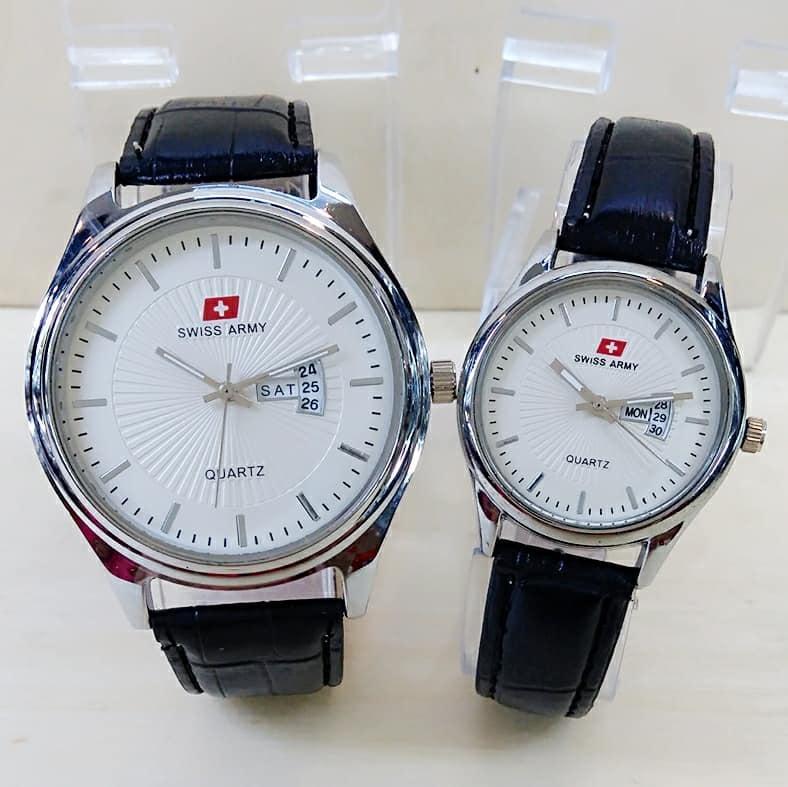 Swiss Army Jam Tangan Couple - Tali Kulit - tanggal hari hitam - SA 0142TSHP