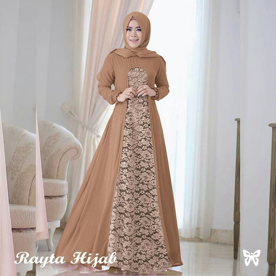 Baju Wanita Shop Maxi Dress Lengan Panjang Raita / Gamis Syari / Gaun Pesta Muslimah / Baju Brukat Muslim Wanita Syar'i Syari / Hijab / Jilbab Muslim Cantik Lebaran S3 (ytara) - Mocca