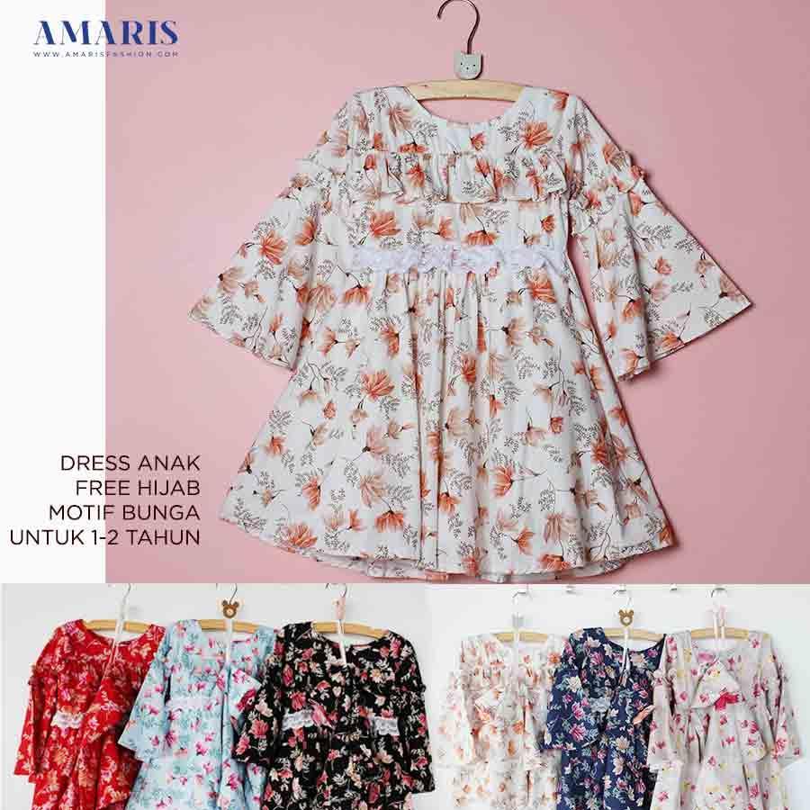 Amaris Fashion - Dress Gamis Motif Bunga Anak Usia 1-2 Tahun Murah
