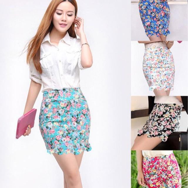 JUAL RUGI SALE PROMO FLOWER FLORAL MINI PENCIL SKIRT ROK BUNGA HIGH QUALITY IMPORT BANGKOK ALL SIZE